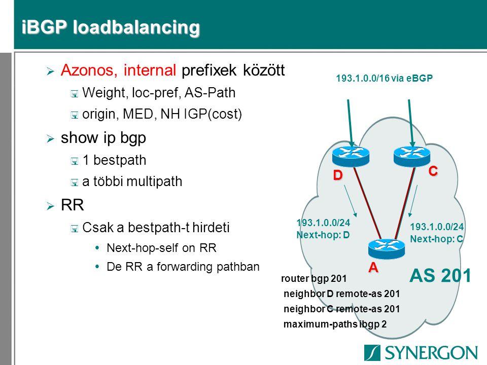 iBGP loadbalancing AS 201 Azonos, internal prefixek között show ip bgp