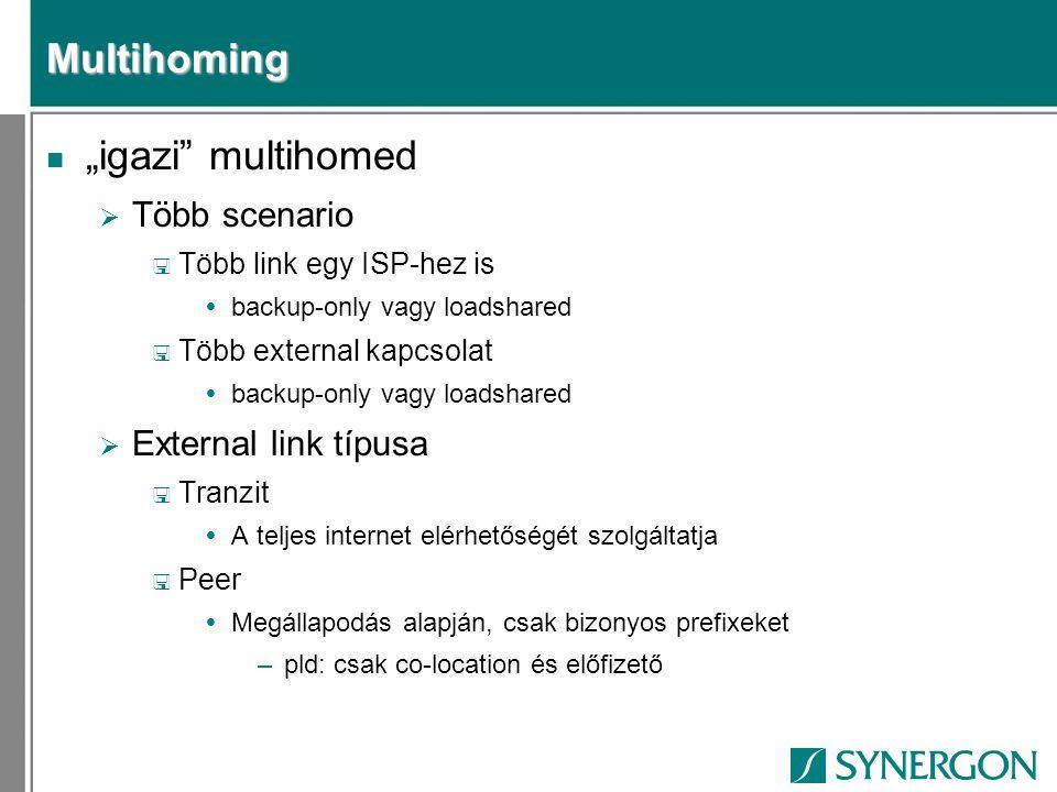 """Multihoming """"igazi multihomed Több scenario External link típusa"""