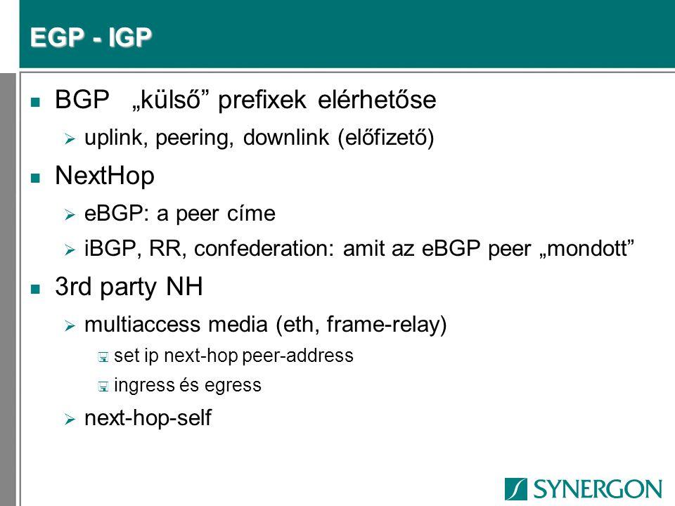 """BGP """"külső prefixek elérhetőse NextHop"""