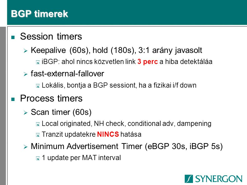 BGP timerek Session timers Process timers