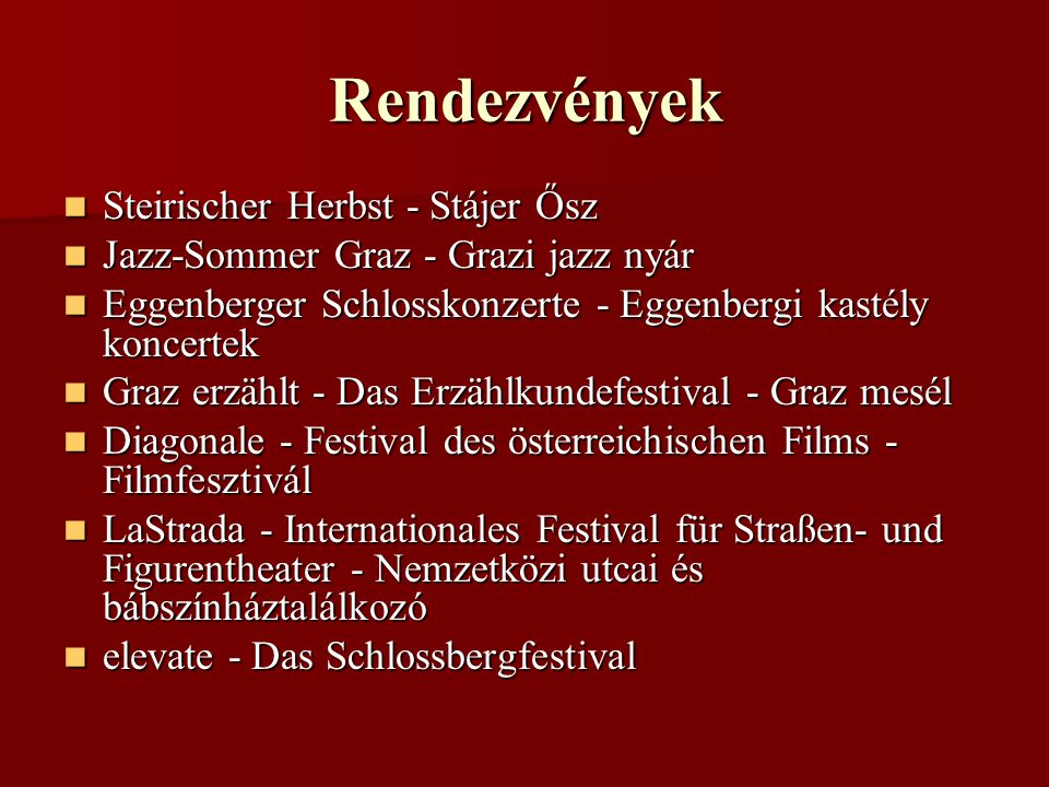 Rendezvények Steirischer Herbst - Stájer Ősz