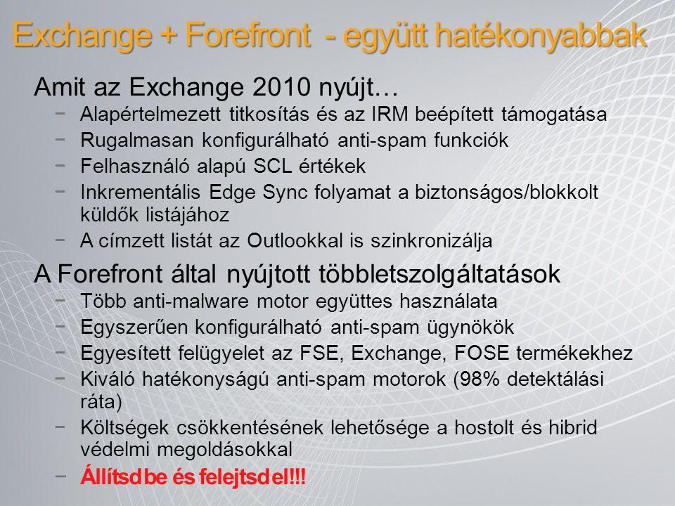 Exchange + Forefront - együtt hatékonyabbak