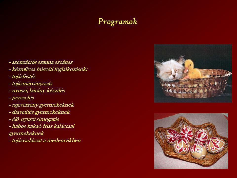 Programok - szenzációs szauna szeánsz - kézműves húsvéti foglalkozások: - tojásfestés. - tojásmárványozás.