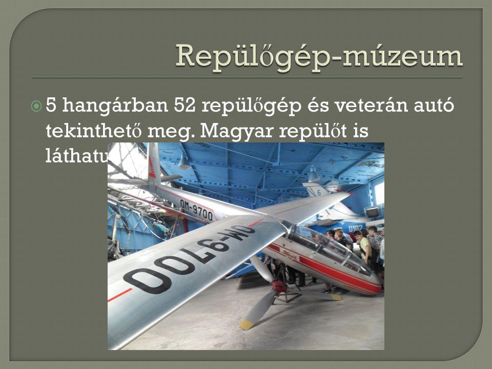 Repülőgép-múzeum 5 hangárban 52 repülőgép és veterán autó tekinthető meg.