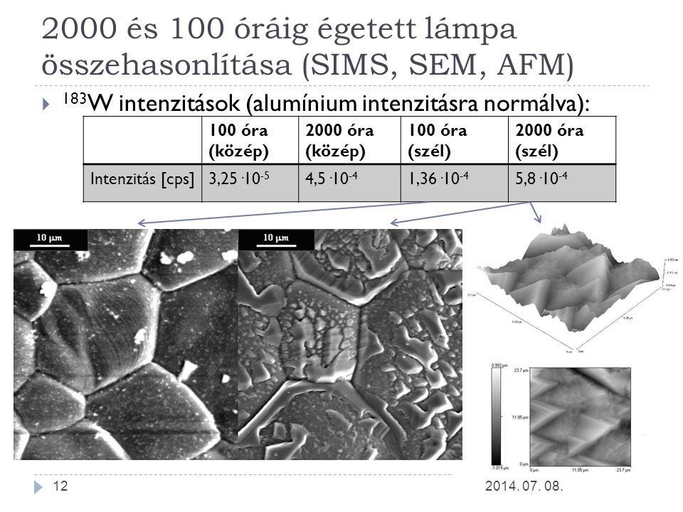 2000 és 100 óráig égetett lámpa összehasonlítása (SIMS, SEM, AFM)