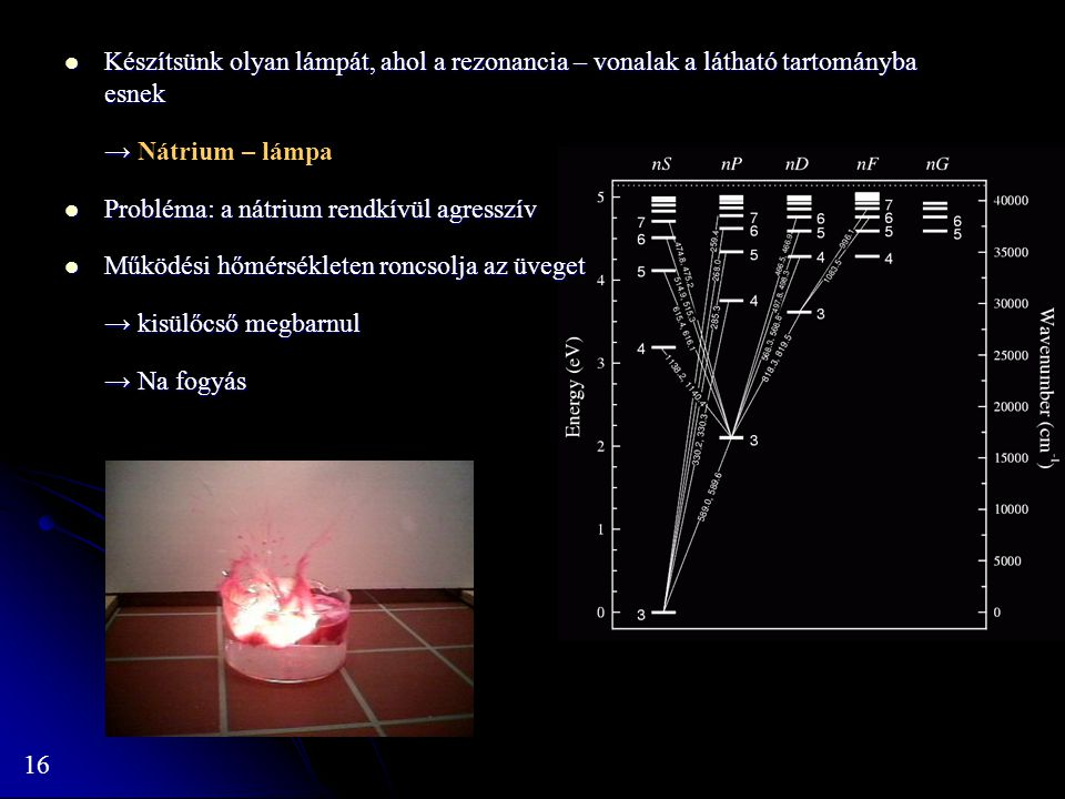 Készítsünk olyan lámpát, ahol a rezonancia – vonalak a látható tartományba esnek