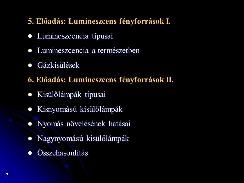 5. Előadás: Lumineszcens fényforrások I.