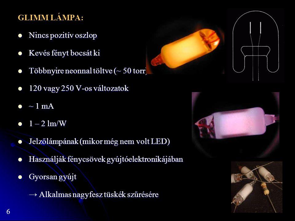 GLIMM LÁMPA: Nincs pozitív oszlop. Kevés fényt bocsát ki. Többnyire neonnal töltve (~ 50 torr) 120 vagy 250 V-os változatok.