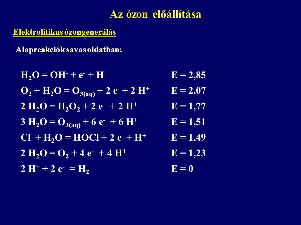 Az ózon előállítása H2O = OH- + e- + H+ E = 2,85