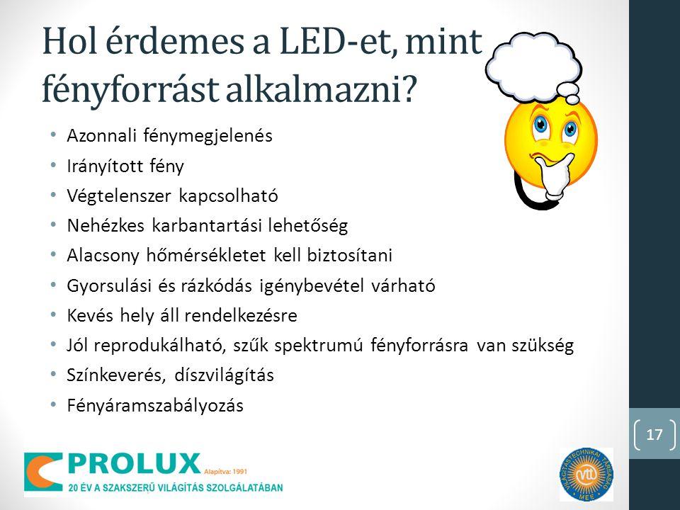 Hol érdemes a LED-et, mint fényforrást alkalmazni