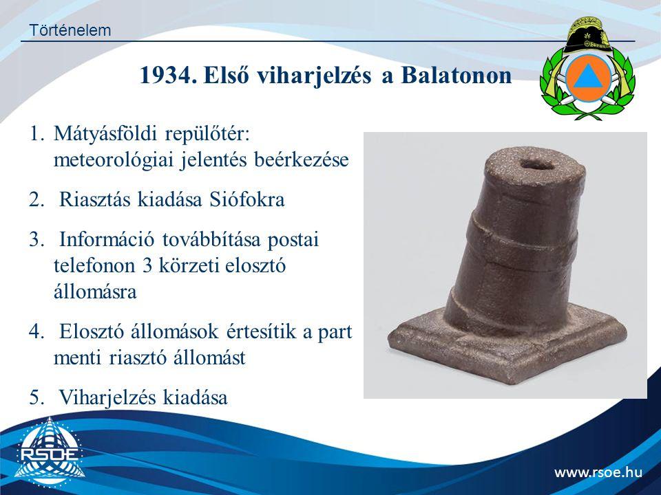 1934. Első viharjelzés a Balatonon