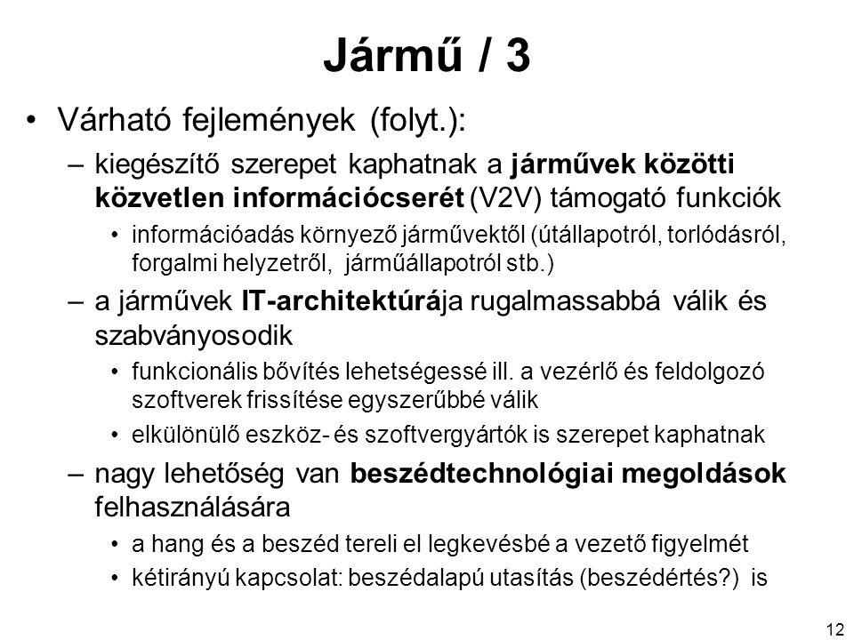 Jármű / 3 Várható fejlemények (folyt.):