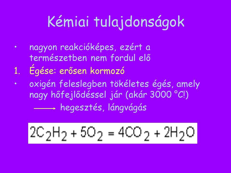 Kémiai tulajdonságok nagyon reakcióképes, ezért a természetben nem fordul elő. Égése: erősen kormozó.