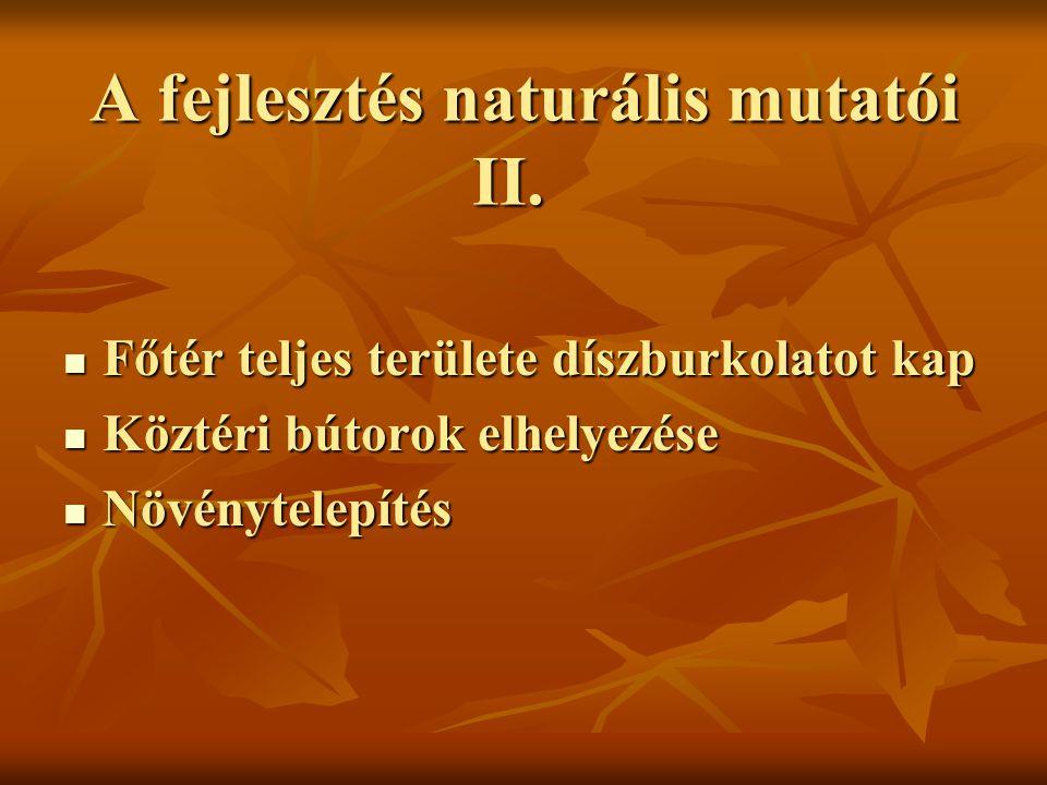 A fejlesztés naturális mutatói II.