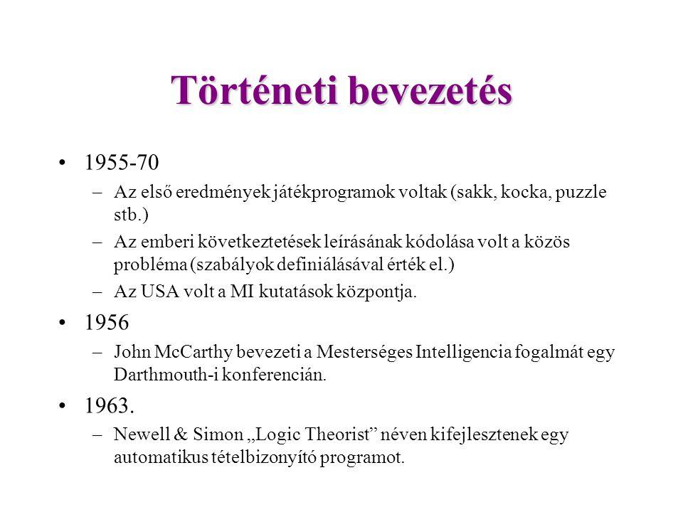 Történeti bevezetés 1955-70. Az első eredmények játékprogramok voltak (sakk, kocka, puzzle stb.)