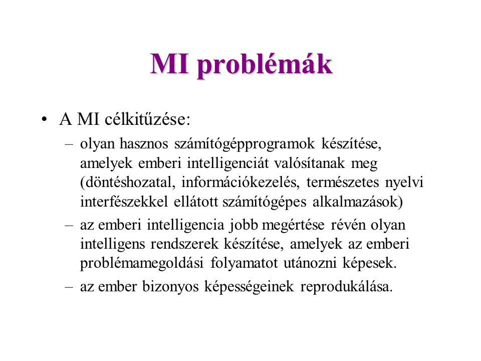 MI problémák A MI célkitűzése:
