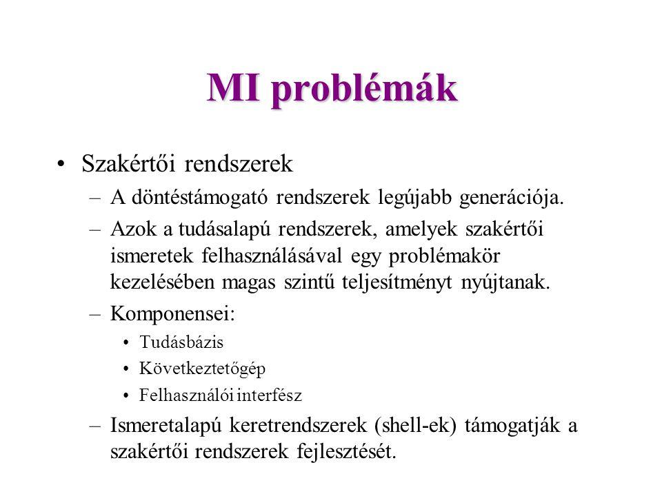 MI problémák Szakértői rendszerek