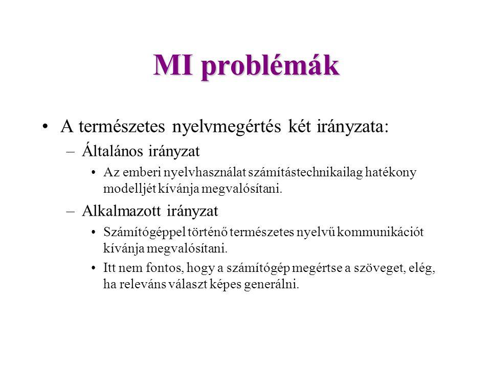 MI problémák A természetes nyelvmegértés két irányzata: