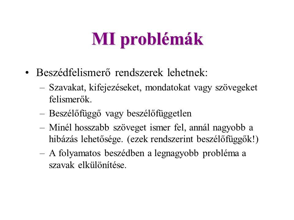 MI problémák Beszédfelismerő rendszerek lehetnek: