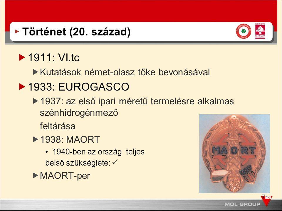 Történet (20. század) 1911: VI.tc 1933: EUROGASCO