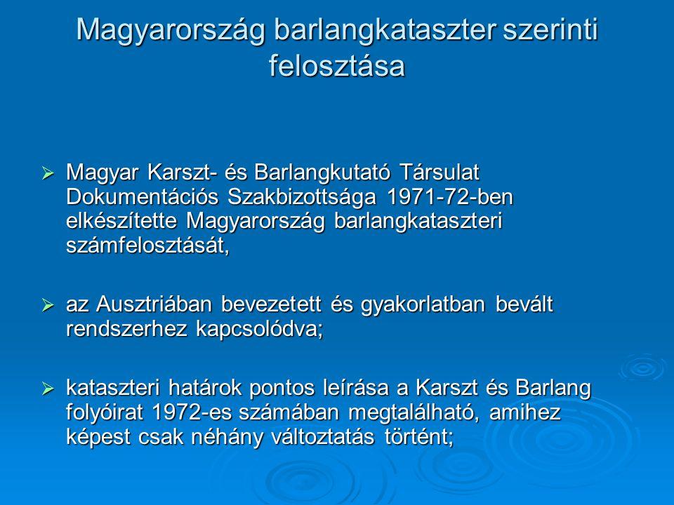 Magyarország barlangkataszter szerinti felosztása