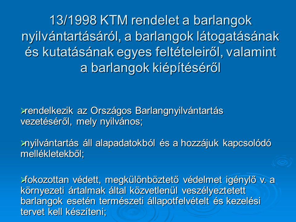 13/1998 KTM rendelet a barlangok nyilvántartásáról, a barlangok látogatásának és kutatásának egyes feltételeiről, valamint a barlangok kiépítéséről