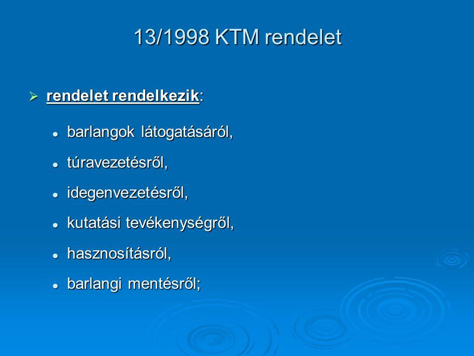 13/1998 KTM rendelet rendelet rendelkezik: barlangok látogatásáról,