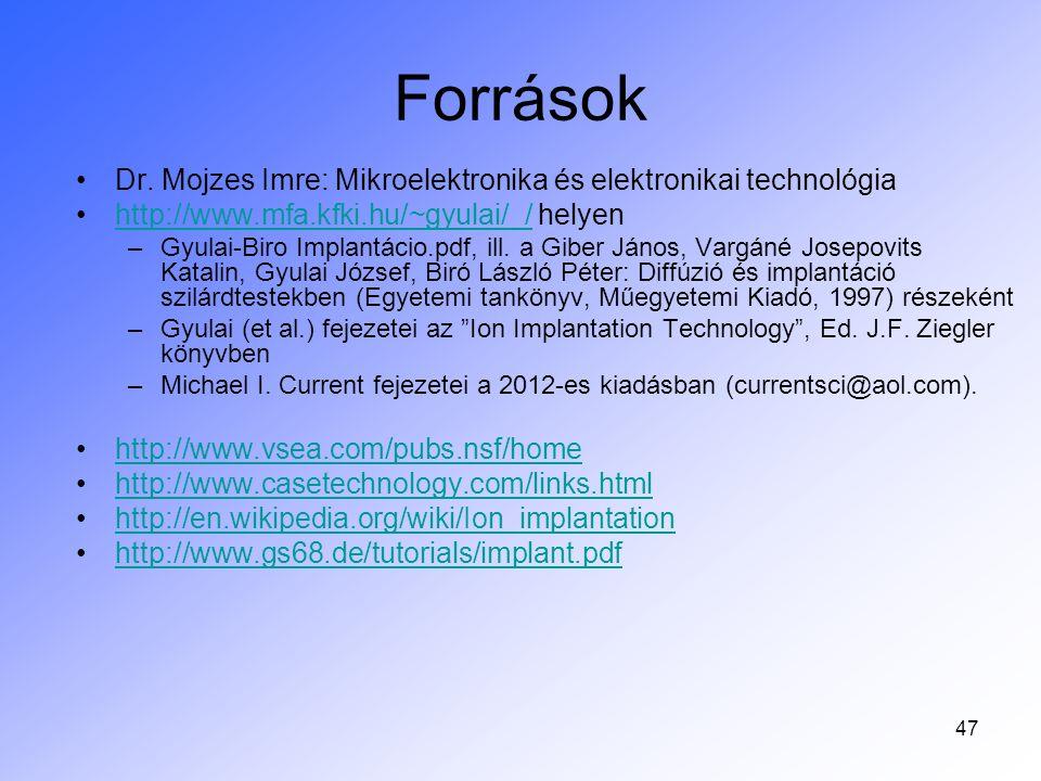 Források Dr. Mojzes Imre: Mikroelektronika és elektronikai technológia