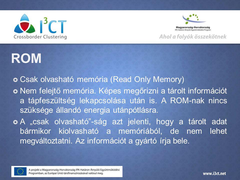 ROM Csak olvasható memória (Read Only Memory)