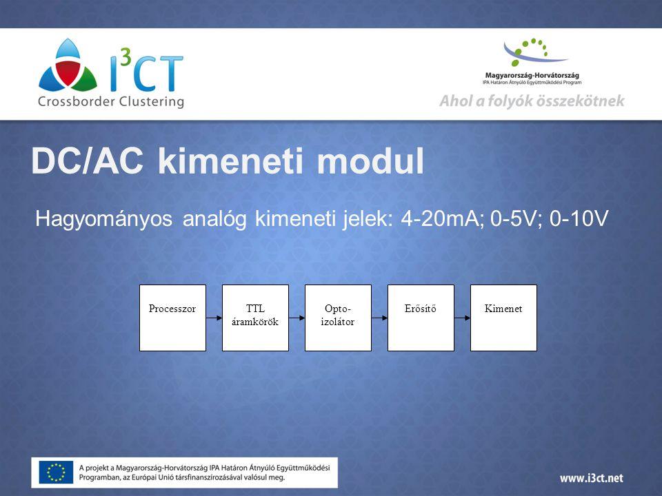 DC/AC kimeneti modul Hagyományos analóg kimeneti jelek: 4-20mA; 0-5V; 0-10V. Processzor. TTL áramkörök.