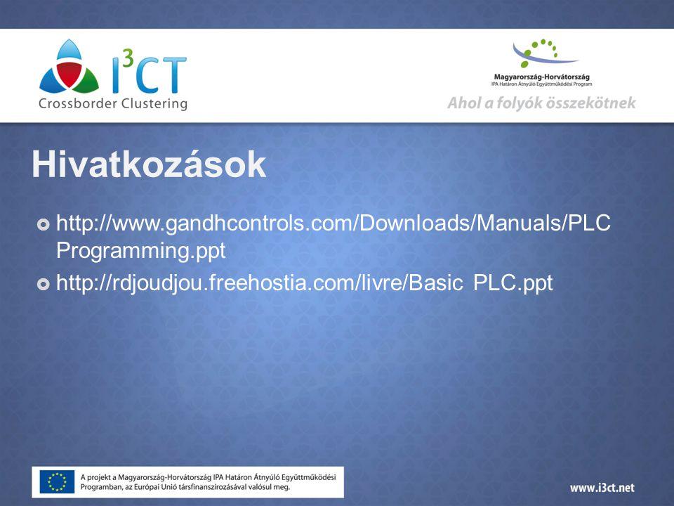 Hivatkozások http://www.gandhcontrols.com/Downloads/Manuals/PLC Programming.ppt.