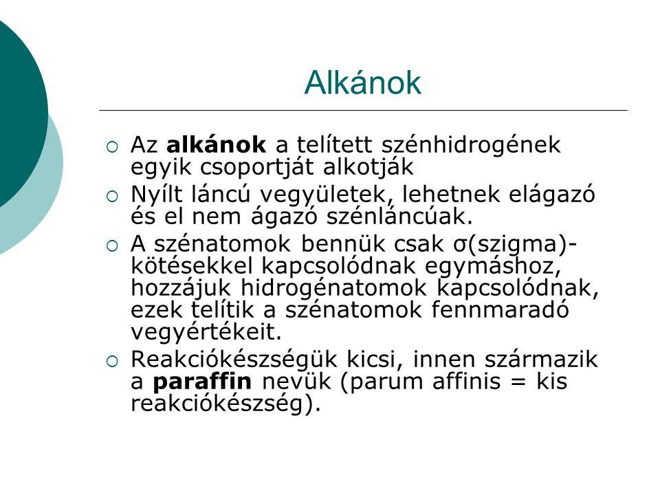 Alkánok Az alkánok a telített szénhidrogének egyik csoportját alkotják