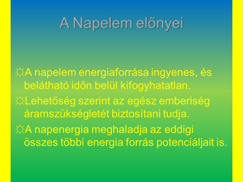 A Napelem előnyei A napelem energiaforrása ingyenes, és belátható időn belül kifogyhatatlan.