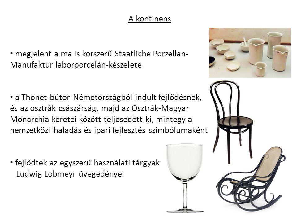 A kontinens megjelent a ma is korszerű Staatliche Porzellan-Manufaktur laborporcelán-készelete.