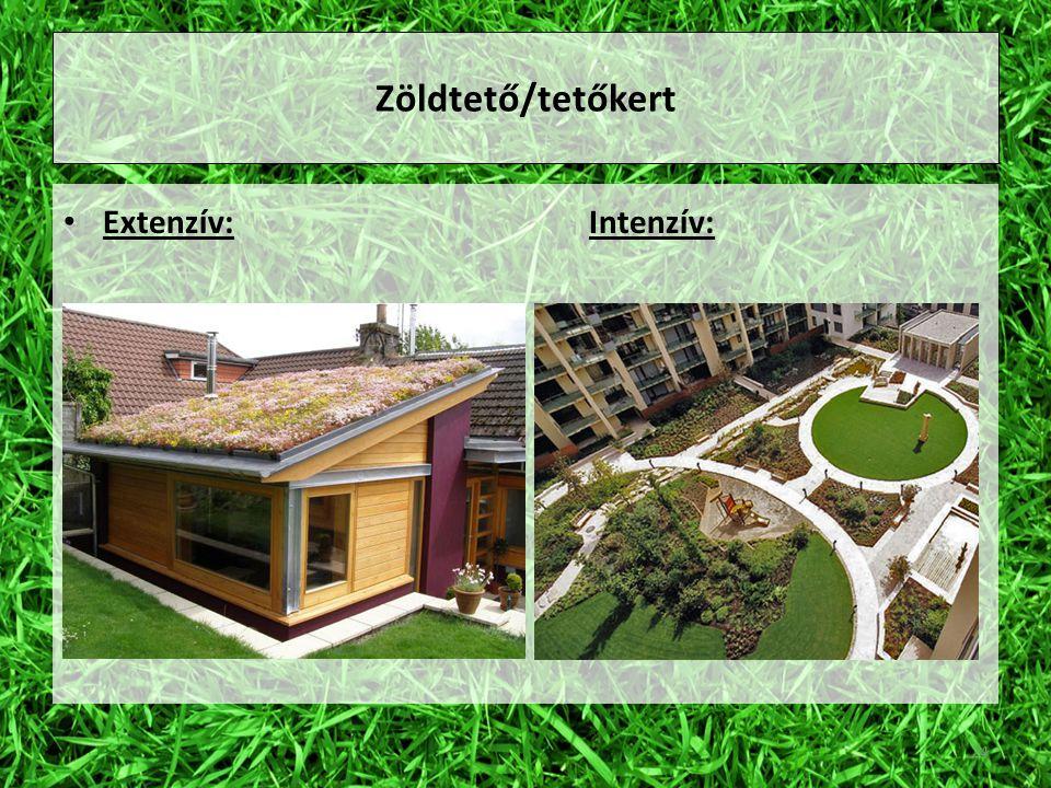 Zöldtető/tetőkert Extenzív: Intenzív: