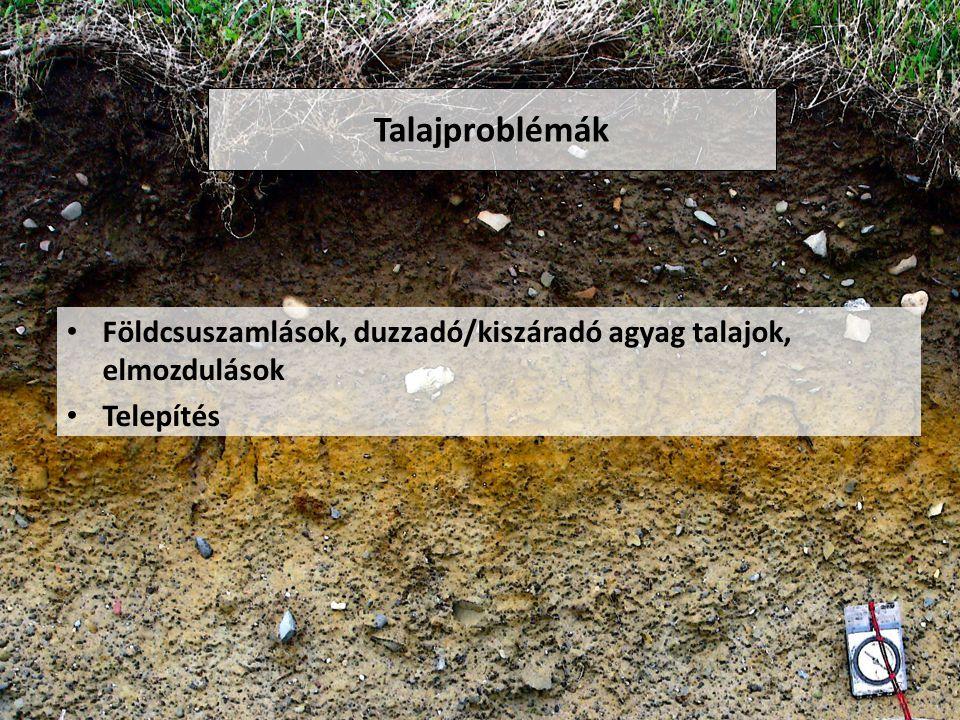Talajproblémák Földcsuszamlások, duzzadó/kiszáradó agyag talajok, elmozdulások Telepítés