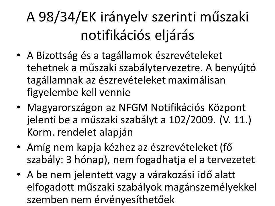 A 98/34/EK irányelv szerinti műszaki notifikációs eljárás