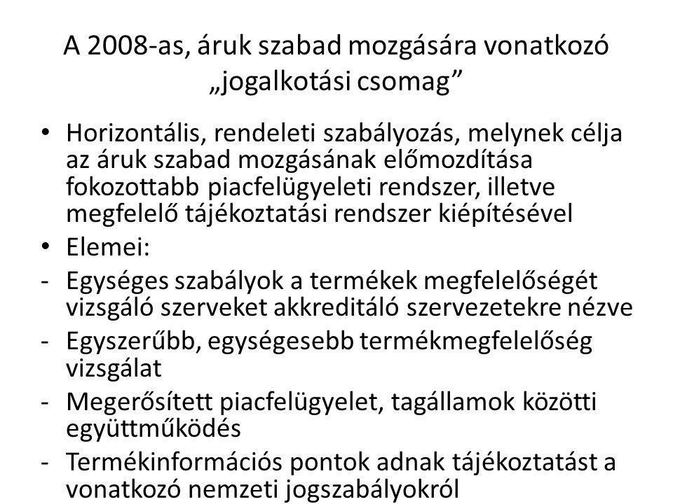 """A 2008-as, áruk szabad mozgására vonatkozó """"jogalkotási csomag"""