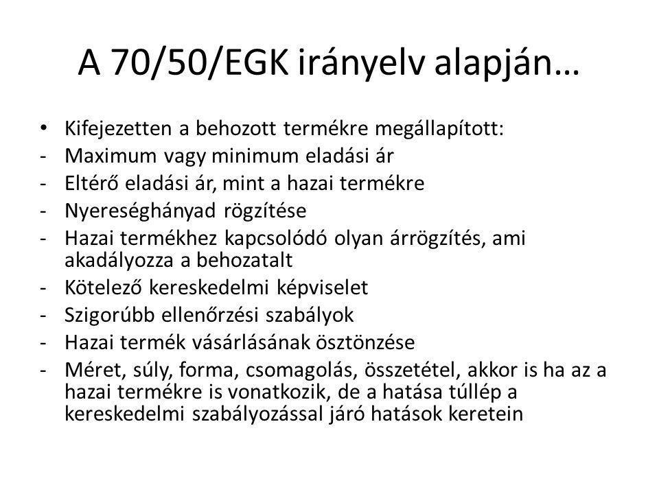 A 70/50/EGK irányelv alapján…