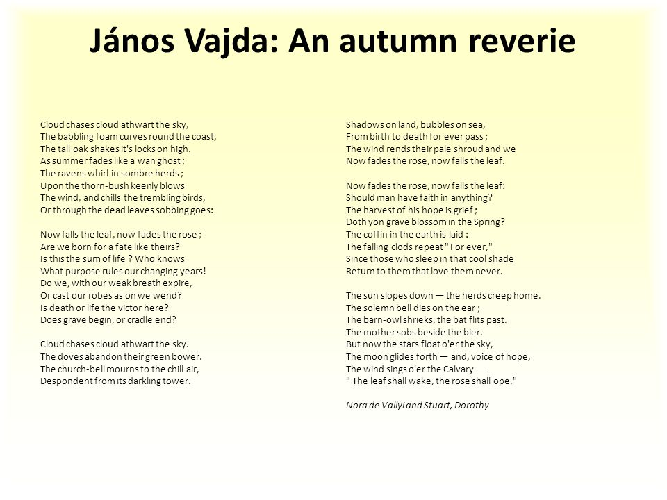 János Vajda: An autumn reverie