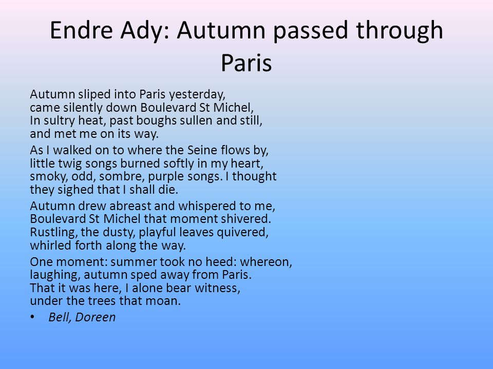 Endre Ady: Autumn passed through Paris