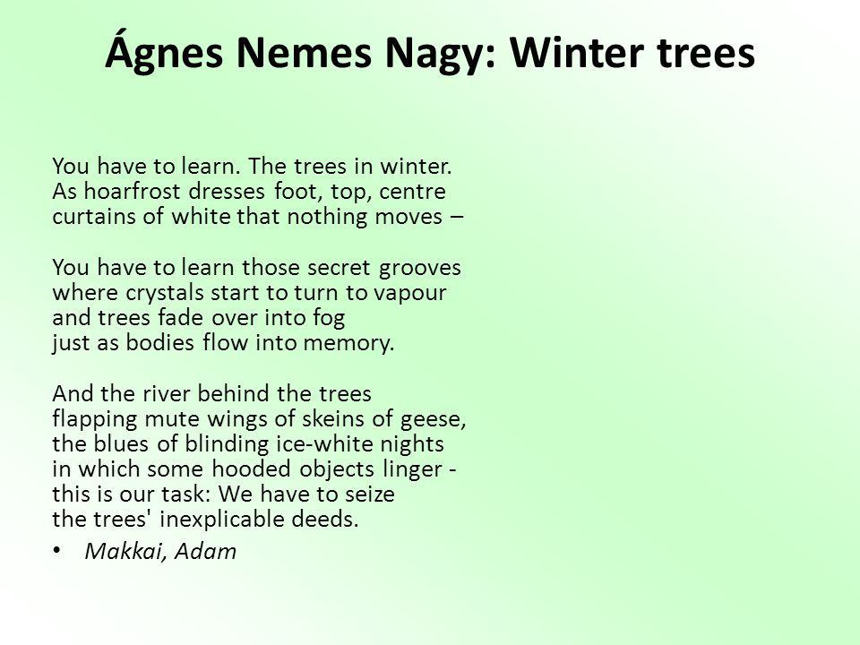 Ágnes Nemes Nagy: Winter trees
