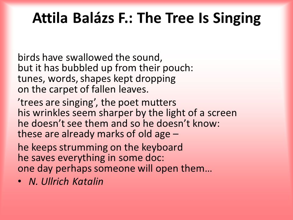 Attila Balázs F.: The Tree Is Singing