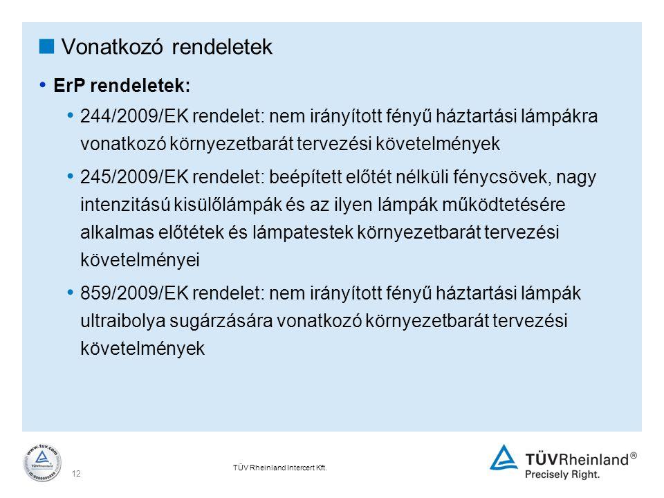 Vonatkozó rendeletek ErP rendeletek: