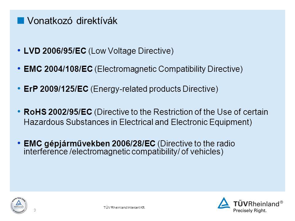 Vonatkozó direktívák LVD 2006/95/EC (Low Voltage Directive)