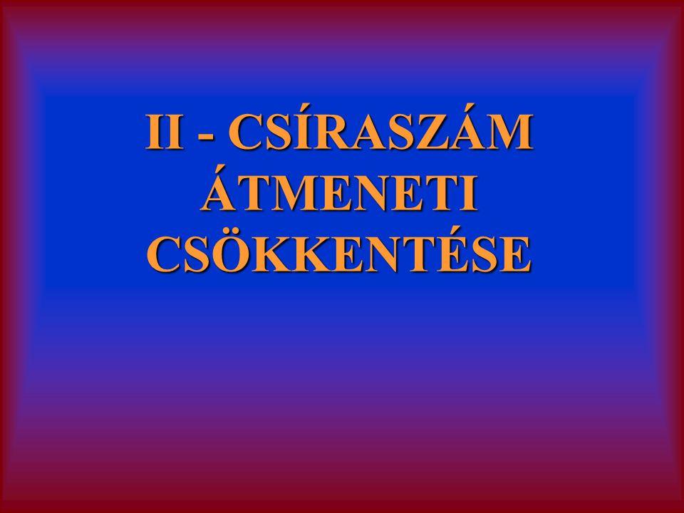 II - CSÍRASZÁM ÁTMENETI CSÖKKENTÉSE