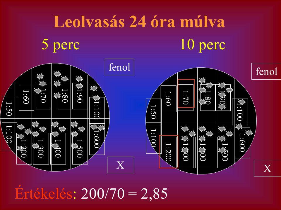 Leolvasás 24 óra múlva 5 perc 10 perc Értékelés: 200/70 = 2,85 fenol