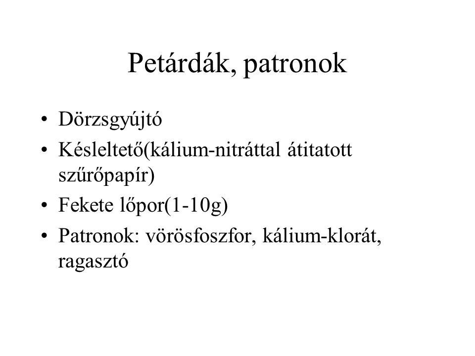 Petárdák, patronok Dörzsgyújtó