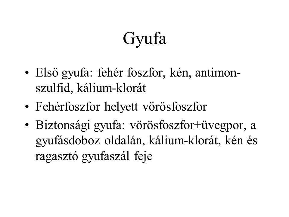 Gyufa Első gyufa: fehér foszfor, kén, antimon-szulfid, kálium-klorát
