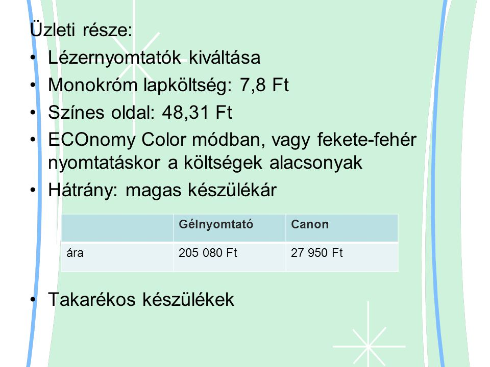Lézernyomtatók kiváltása Monokróm lapköltség: 7,8 Ft